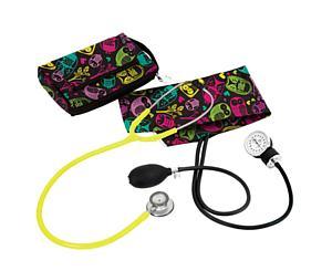 Aneroid Sphygmomanometer / Clinical Lite Stethoscope Kit, Adult, Owls Black, Print