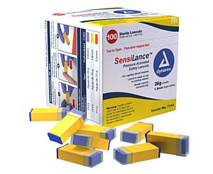 SensiLance Safety Lancets, Pressure Activated, 26G x 1.8 mm, Box/100