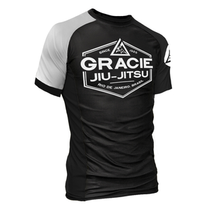 White Rank Gracie Short-Sleeve Rashguards (Men)
